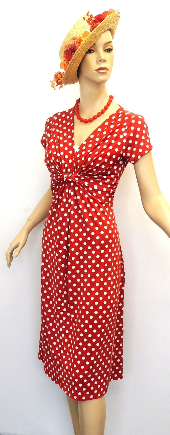 1940s Fashions In Red White Blue With Images: New Ladies Red Deco Polka Dot Vtg Retro WW2 Land Girl